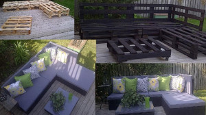 sofa chaise lon pallet furniture 300x168 Sofa and chaise long made of pallets