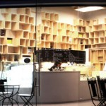 Gourmet shop in Bangkok with the interior shelves made of recycled pallets
