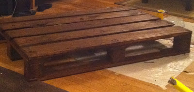 Build a table with a wooden pallet and some stainless steel pipes_2