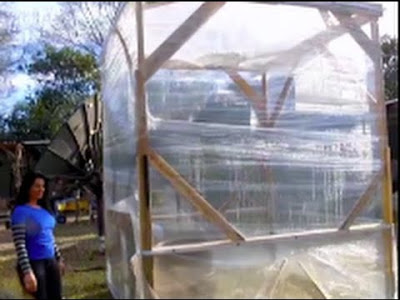 Build an instantaneus greenhouse with pallets and packing tape