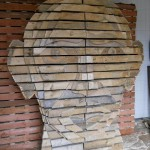 DIY Human head design made of wooden pallets