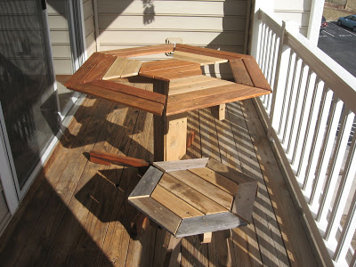 Hexagonal table design for your balcony made 100 with wooden pallets
