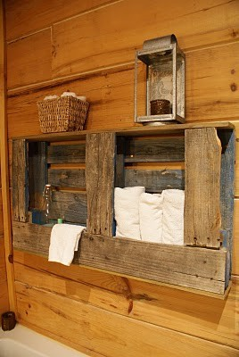 Rustic towel rack for your bathroom made of wooden pallets
