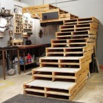 Stair structure made from pallets for a loft or a garage