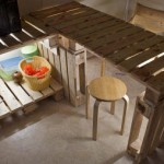 Table and Kitchen furniture made of pallets with a very original lighting