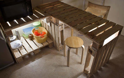 Table and Kitchen furniture made of pallet with a very original lighting