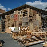 The Jellyfish Theatre in London, a temporal construction made entirely with recycled pallets