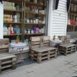 Public wooden benches made of recycled wooden pallets in Kristiansand, Norway
