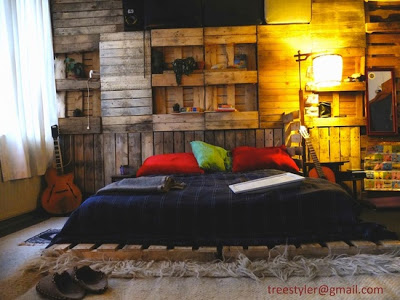 Cheap childrens bedroom made with pallets