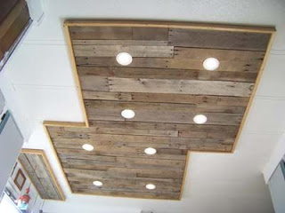 Lighting in a kitchen using wooden pallet boards10