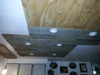 Lighting in a kitchen using wooden pallet boards7