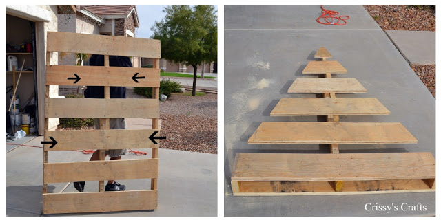 arbol de navidad con palets3 Christmas trees made ​​with pallets