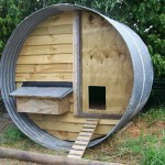 A chicken coop made with pallets