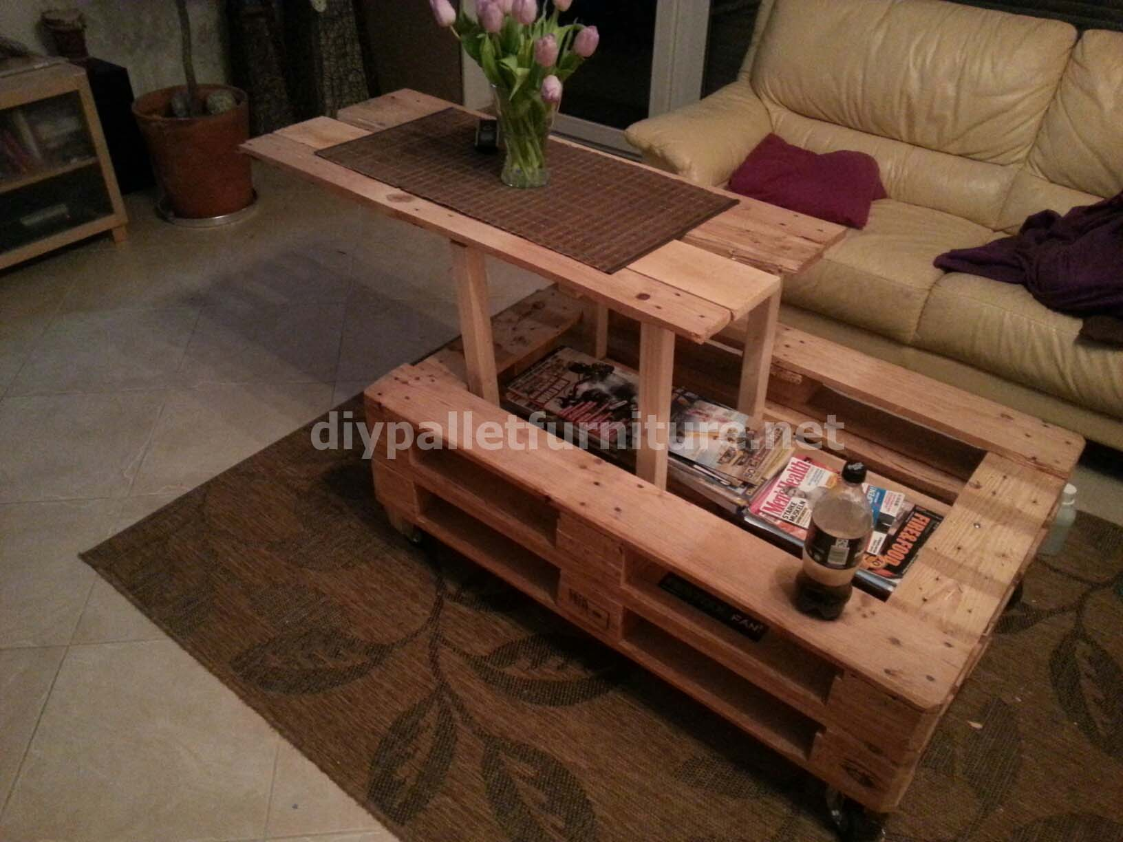 Pneumatic pallet tablediy pallet furniture diy pallet for Palette bois deco