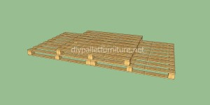 Simple flooring made with wooden pallets9 300x151 Simple flooring made with wooden pallets