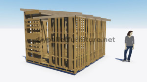 3D Plans for building a cabin or a store with pallets 1