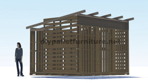 3D Plans for building a cabin or a store with pallets 10