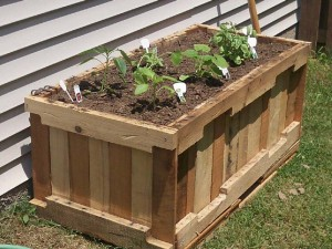 Instructions and 3D drawings of how to make a planter with pallets 0