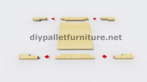 Instructions and 3D drawings of how to make a planter with pallets 5