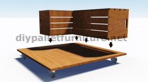 Plans and instructions of how to build a table with fruit boxes 3
