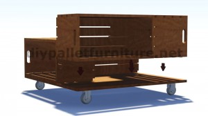 Plans and instructions of how to build a table with fruit boxes 5
