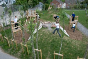 Playground made ​​of recycled wood and tree trunks 6