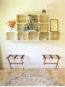Several original ideas of shelves made from fruit boxes 5