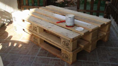 How to make a vintage coffee tablediy pallet furniture - Peindre une palette en bois ...