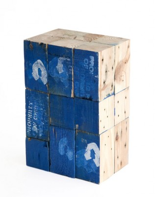 Stools made from pallet wooden blocks 3