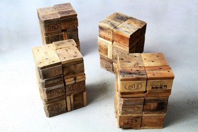 Stools made from pallet wooden blocks