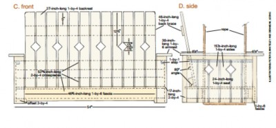 Plans and instructions to build a hanging bench with pallets 2