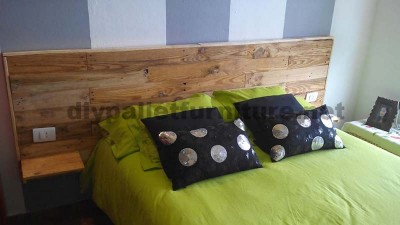 Bed headboard made ​​with pallet planks 2