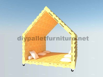 Interior chillout house or games corner made of pallets 7