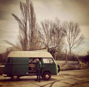 Van restored using wooden pallet tables 2