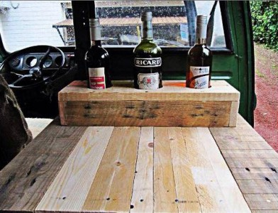 Van restored using wooden pallet tables 3