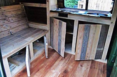Van restored using wooden pallet tables 6