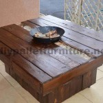 Garden pallet table with a brazier