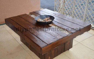 Garden pallet table with brazier 1