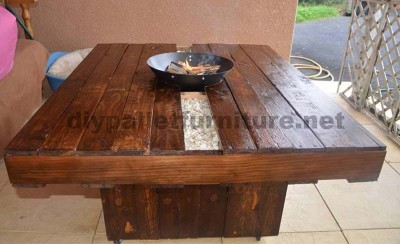 Garden pallet table with brazier 2