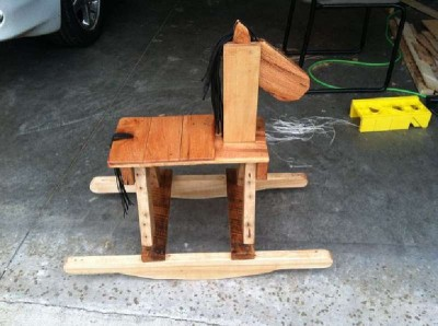 Pallet wooden rocking horse for children 3