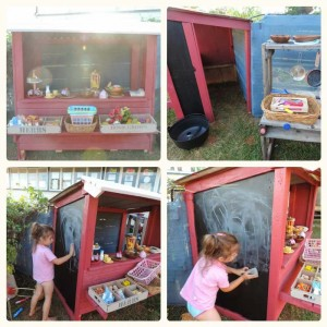 Little shop for your children to play built with pallets 7