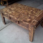 Living room table made with little wooden pieces