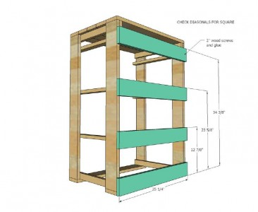 Plans and instructions to build a drawer for the dirty clothes with pallets 6