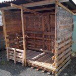 Shelter built with recycled wood