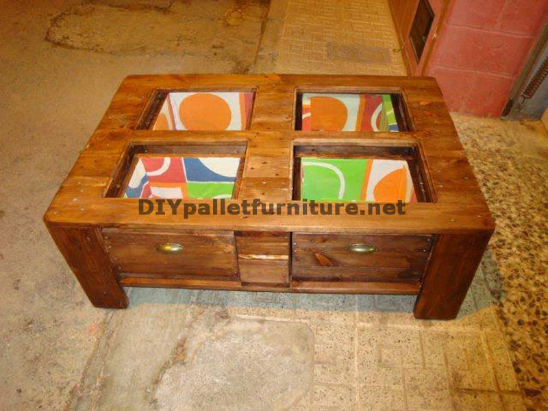 Coffee table with drawers includeddiy pallet furniture for Diy coffee table with drawers