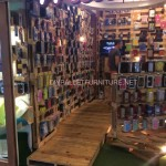 Shop completely furnished using wooden pallets