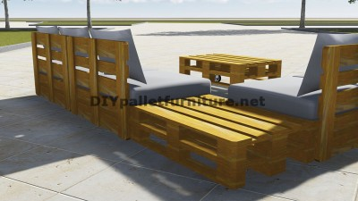 Design of corner sofa with table built using pallets 3