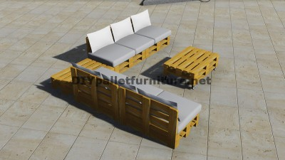 Design of corner sofa with table built using pallets 4