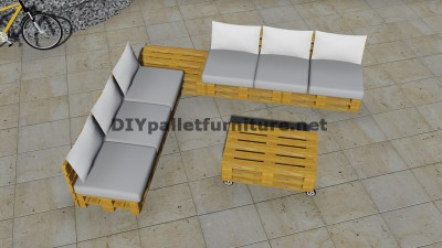 Design of corner sofa with table built using pallets 6
