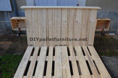 Fantastic bed with headboard built with 6 Europallets 2
